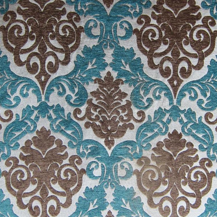 Teal Chenille Damask Upholstery Fabric Hautehousefabric Com