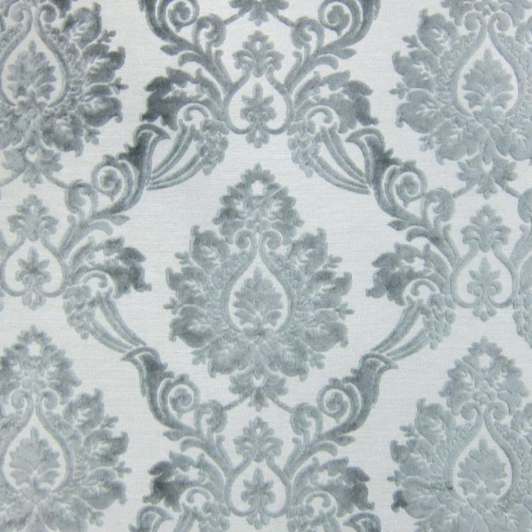 Silver Cut Velvet Designer Upholstery Fabric Godiva