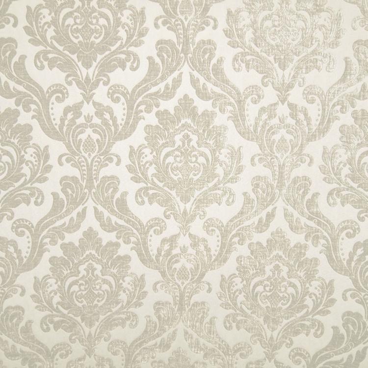 Cream Chenille Damask Designer Upholstery Fabric Marcus