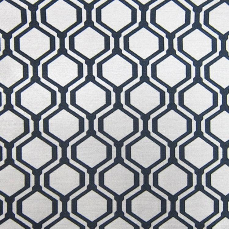 Black White Woven Geometric Linen Designer Upholstery Fabric