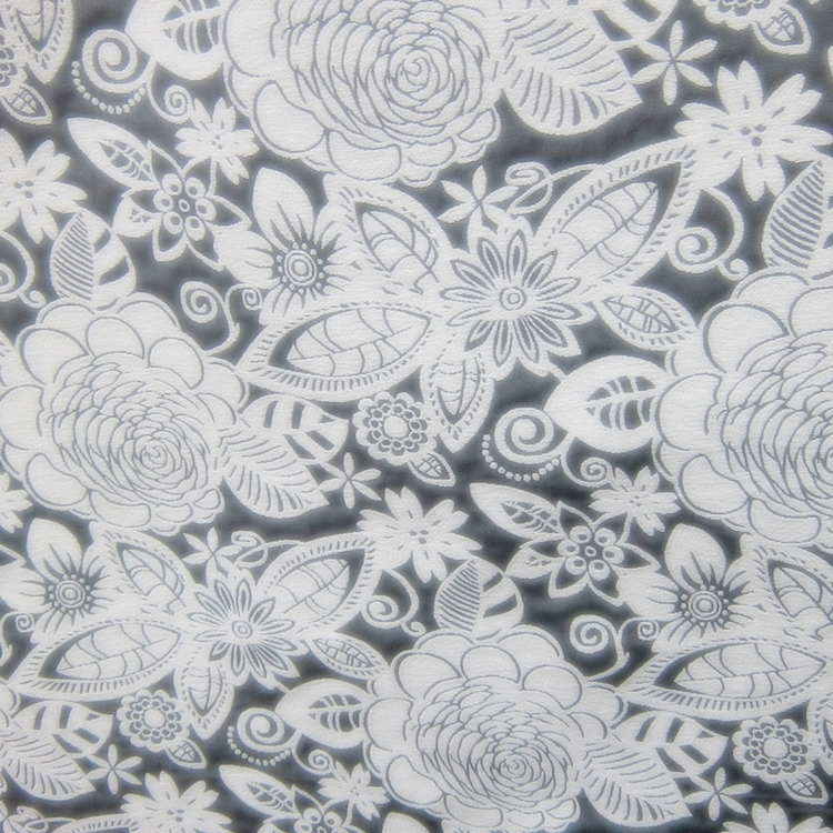 Grey Floral Woven Designer Upholstery Fabric Fiesta