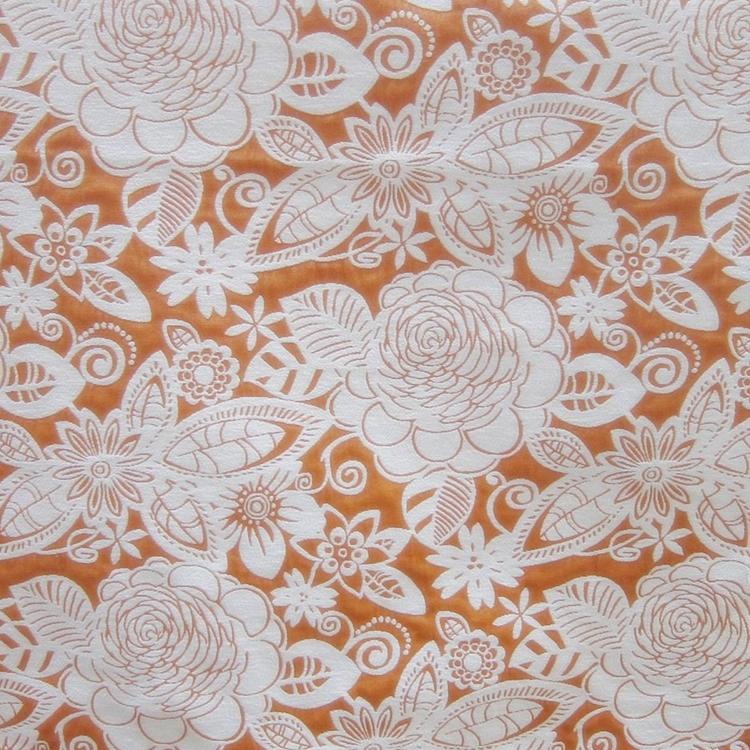 Orange Floral Woven Designer Upholstery Fabric Fiesta