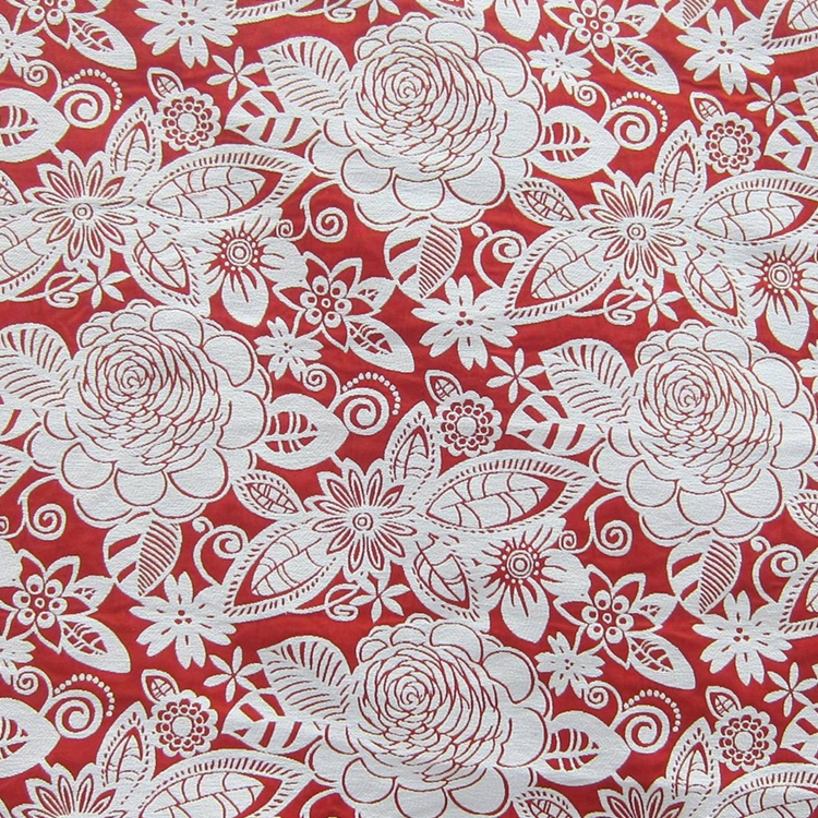 Red Floral Woven Designer Upholstery Fabric Fiesta
