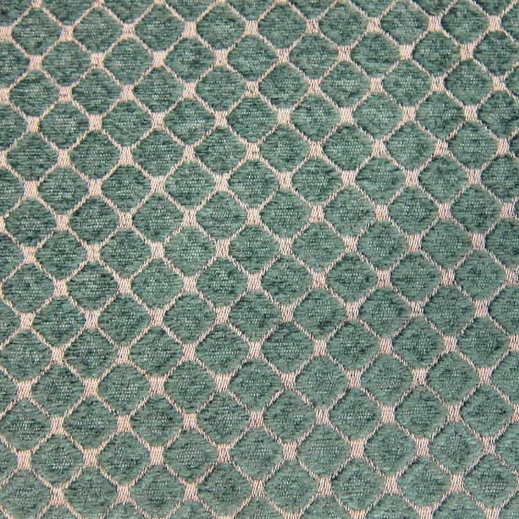 Teal Geometric Chenille Upholstery Designer Fabric - Chenille upholstery fabric