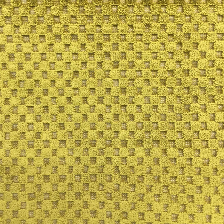 Gold Metallic Check Plaid Fabric Upholstery Fabric