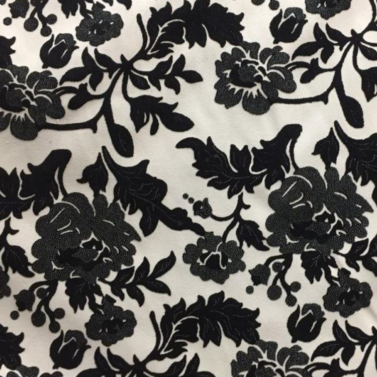 Black Cut Velvet Designer Upholstery Fabric Vidara