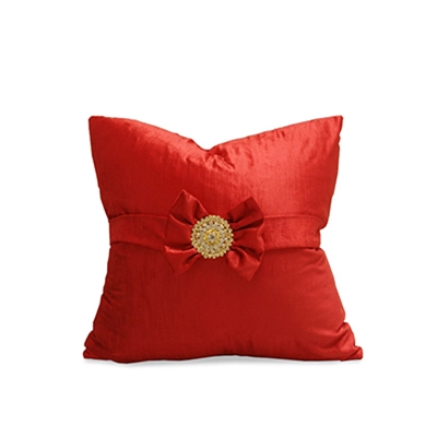 Bow Red Velvet and Gold Brooch Pillow